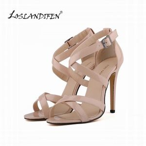 Shoes - Nude Heel Strappy Sandal
